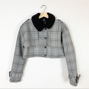 NWT MISSGUIDED Sherpa Lined Crop Checkered Jacket